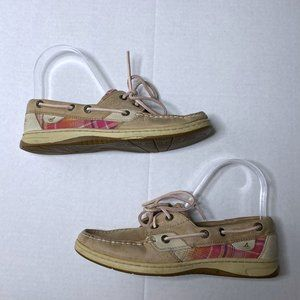 Sperry Top Sider Sz 6.5 Leather Plaid Boat Shoes